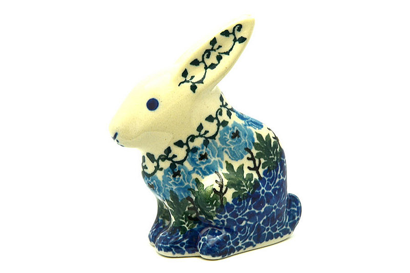 Polish Pottery Rabbit Figurine - Small - Antique Rose