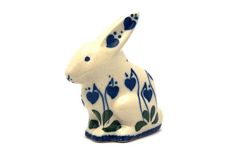 Ceramika Artystyczna Polish Pottery Rabbit Figurine - Small - Bleeding Heart 821-377o (Ceramika Artystyczna)
