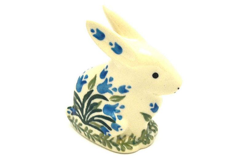 Ceramika Artystyczna Polish Pottery Rabbit Figurine - Small - Blue Bells 821-1432a (Ceramika Artystyczna)