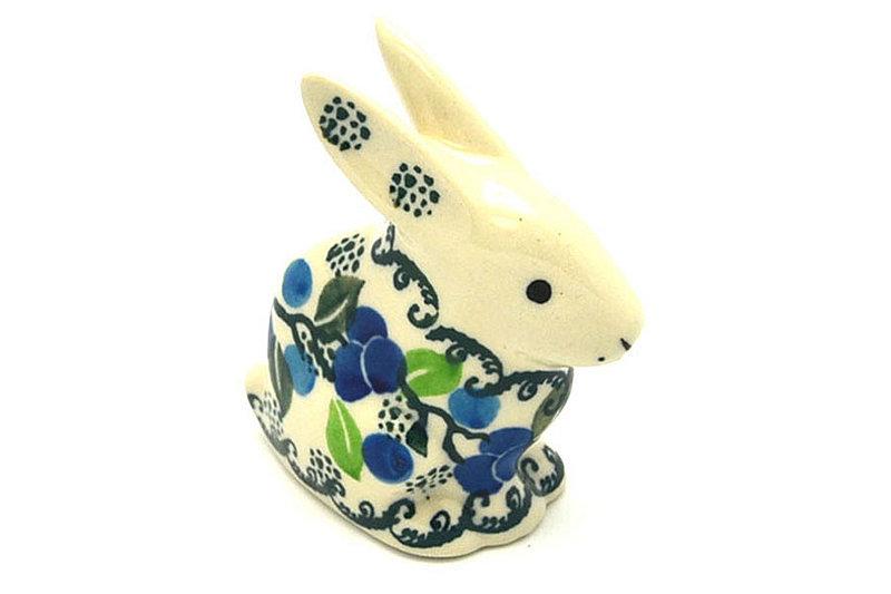 Ceramika Artystyczna Polish Pottery Rabbit Figurine - Small - Blue Berries 821-1416a (Ceramika Artystyczna)