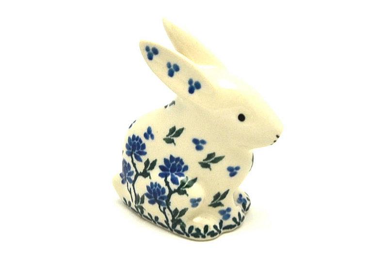 Ceramika Artystyczna Polish Pottery Rabbit Figurine - Small - Blue Clover 821-1978a (Ceramika Artystyczna)