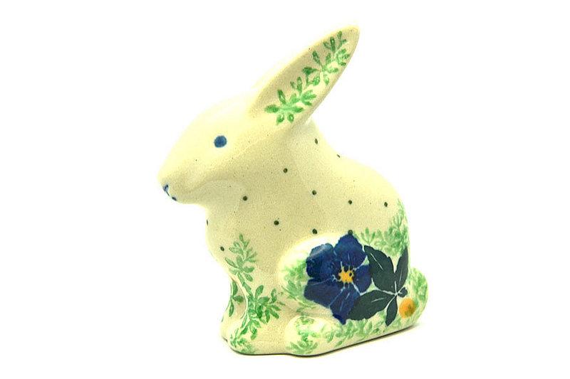 Polish Pottery Rabbit Figurine - Small - Blue Pansy