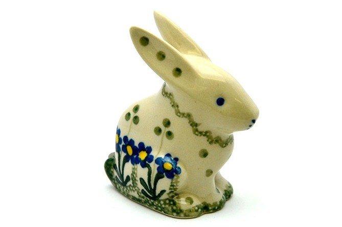 Ceramika Artystyczna Polish Pottery Rabbit Figurine - Small - Blue Spring Daisy 821-614a (Ceramika Artystyczna)