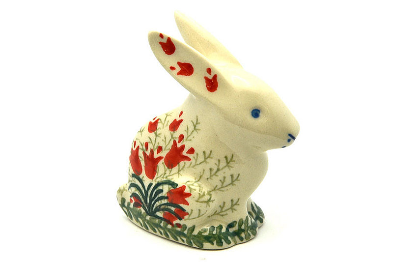Ceramika Artystyczna Polish Pottery Rabbit Figurine - Small - Crimson Bells 821-1437a (Ceramika Artystyczna)