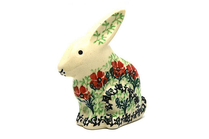 Ceramika Artystyczna Polish Pottery Rabbit Figurine - Small - Maraschino 821-1916a (Ceramika Artystyczna)