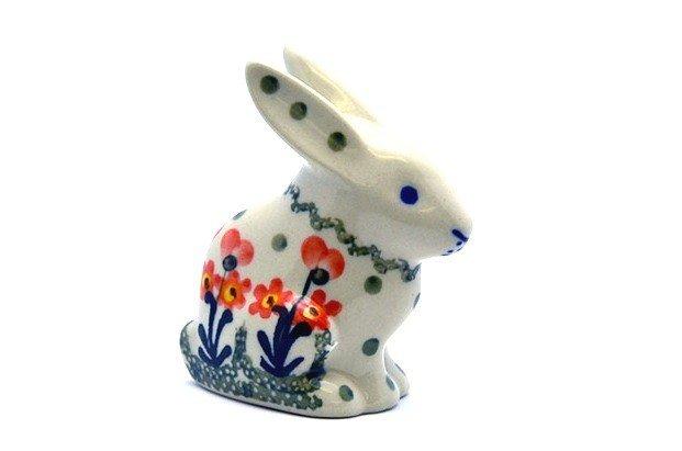 Ceramika Artystyczna Polish Pottery Rabbit Figurine - Small - Peach Spring Daisy 821-560a (Ceramika Artystyczna)