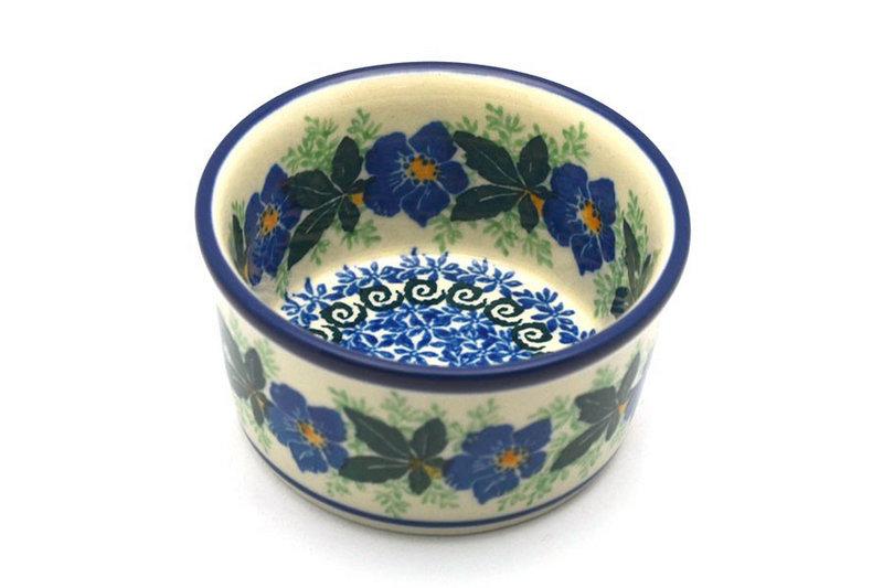 Ceramika Artystyczna Polish Pottery Ramekin - Blue Pansy 409-1552a (Ceramika Artystyczna)
