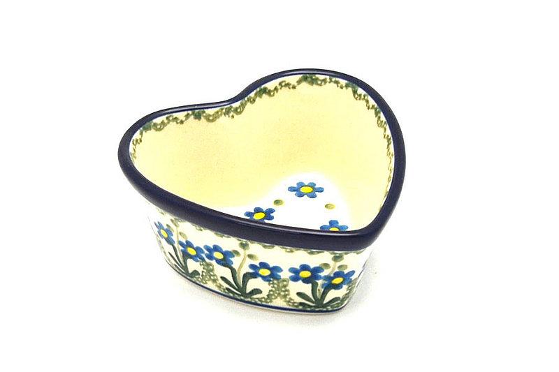 Ceramika Artystyczna Polish Pottery Ramekin - Heart - Blue Spring Daisy A45-614a (Ceramika Artystyczna)