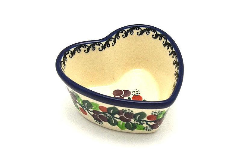 Ceramika Artystyczna Polish Pottery Ramekin - Heart - Burgundy Berry Green A45-1415a (Ceramika Artystyczna)