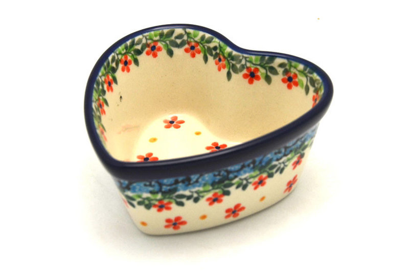 Ceramika Artystyczna Polish Pottery Ramekin - Heart - Cherry Jubilee A45-2284a (Ceramika Artystyczna)