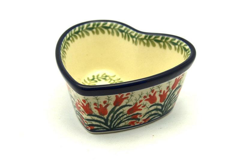 Ceramika Artystyczna Polish Pottery Ramekin - Heart - Crimson Bells A45-1437a (Ceramika Artystyczna)