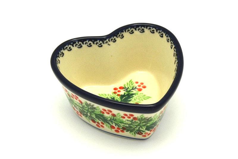 Ceramika Artystyczna Polish Pottery Ramekin - Heart - Holly Berry A45-1734a (Ceramika Artystyczna)