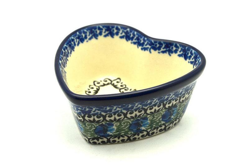 Ceramika Artystyczna Polish Pottery Ramekin - Heart - Peacock Feather A45-1513a (Ceramika Artystyczna)
