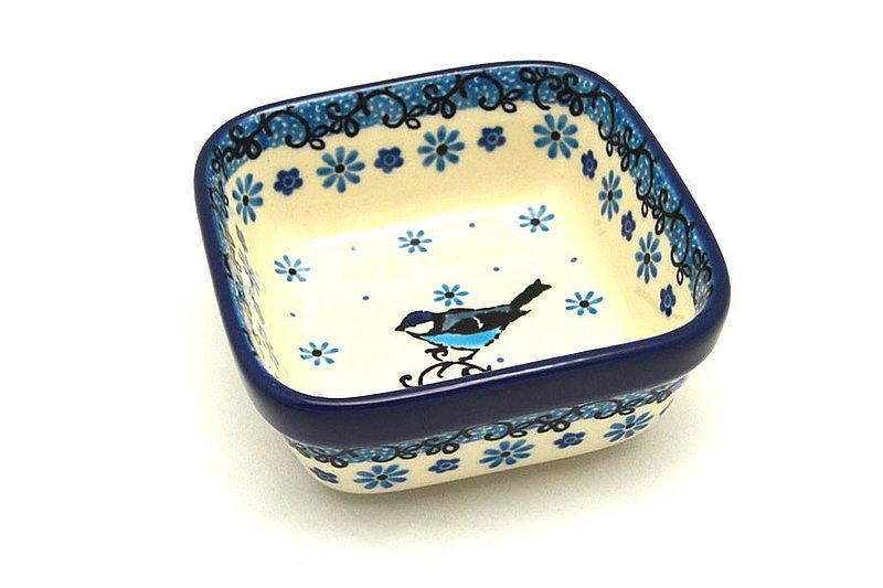 Ceramika Artystyczna Polish Pottery Ramekin - Square - Bluebird 428-2529a (Ceramika Artystyczna)