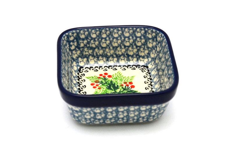 Ceramika Artystyczna Polish Pottery Ramekin - Square - Holly Berry 428-1734a (Ceramika Artystyczna)