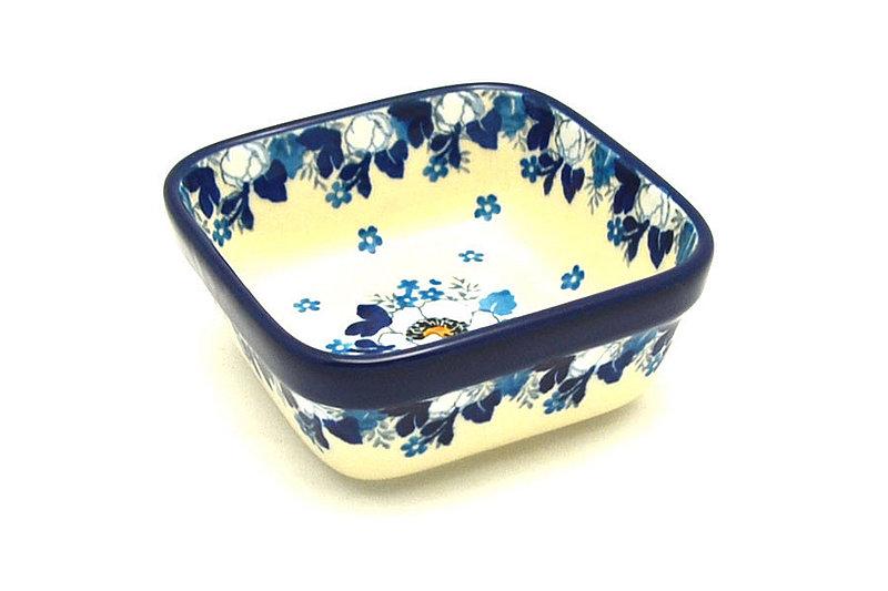 Ceramika Artystyczna Polish Pottery Ramekin - Square - White Poppy 428-2222a (Ceramika Artystyczna)