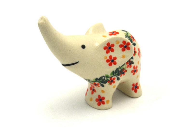 Ceramika Artystyczna Polish Pottery Ring Holder - Elephant - Cherry Jubilee A57-2284a (Ceramika Artystyczna)