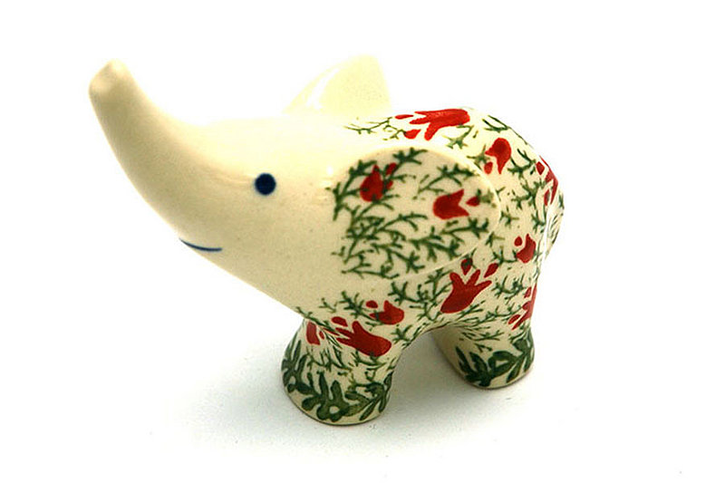 Ceramika Artystyczna Polish Pottery Ring Holder - Elephant - Crimson Bells A57-1437a (Ceramika Artystyczna)