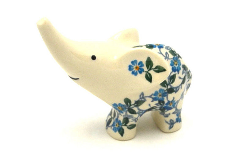 Ceramika Artystyczna Polish Pottery Ring Holder - Elephant - Forget-Me-Knot A57-2089a (Ceramika Artystyczna)