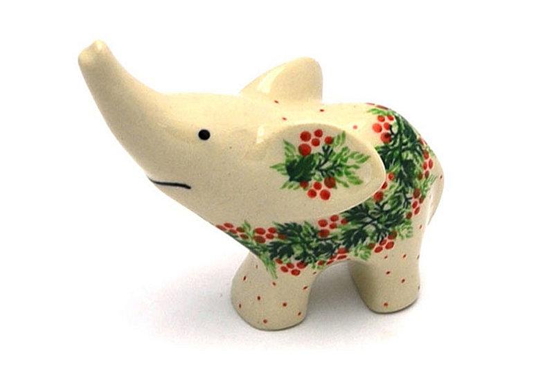 Ceramika Artystyczna Polish Pottery Ring Holder - Elephant - Holly Berry A57-1734a (Ceramika Artystyczna)