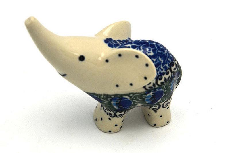 Ceramika Artystyczna Polish Pottery Ring Holder - Elephant - Peacock Feather A57-1513a (Ceramika Artystyczna)
