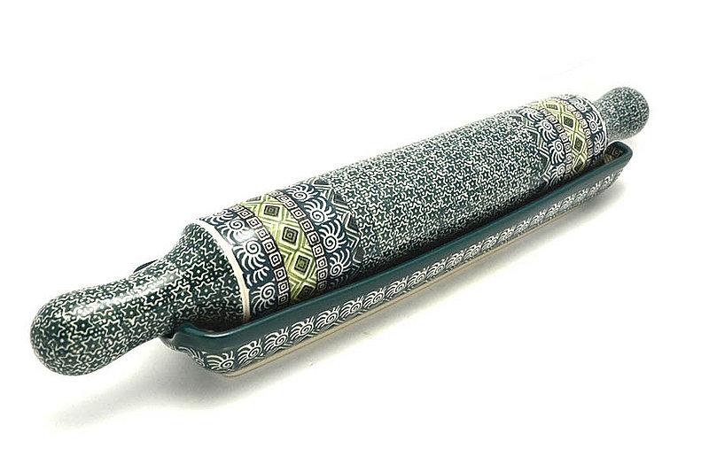 Ceramika Artystyczna Polish Pottery Rolling Pin with Stand - Aztec Forest S43-1919q (Ceramika Artystyczna)