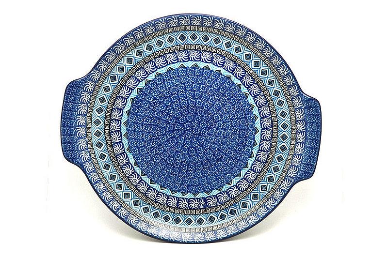 Polish Pottery Round Tray with Handles - Aztec Sky