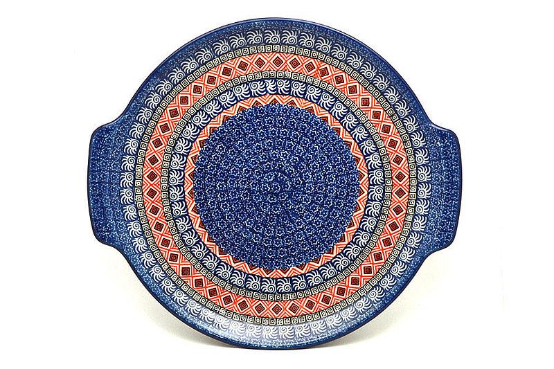 Polish Pottery Round Tray with Handles - Aztec Sun