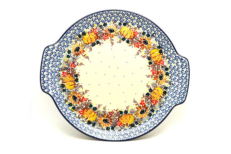 Ceramika Artystyczna Polish Pottery Round Tray with Handles - Unikat Signature - U4741 152-U4741 (Ceramika Artystyczna)