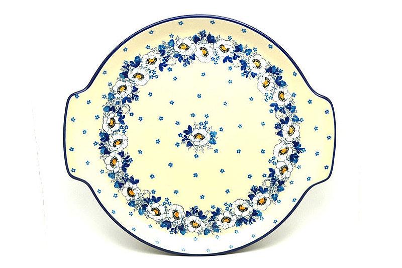 Ceramika Artystyczna Polish Pottery Round Tray with Handles - White Poppy 152-2222a (Ceramika Artystyczna)
