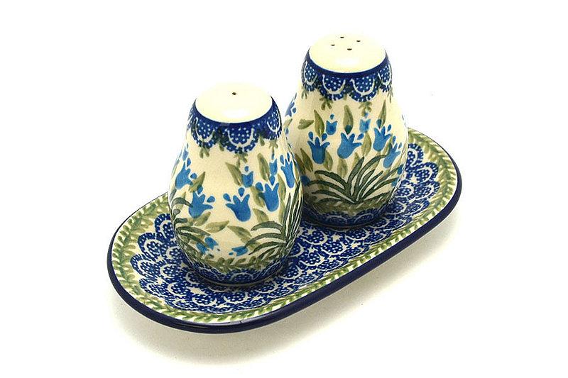 Ceramika Artystyczna Polish Pottery Salt & Pepper Set - Blue Bells 131-1432a (Ceramika Artystyczna)