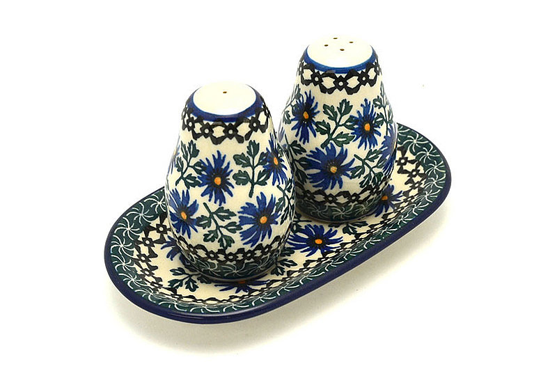 Polish Pottery Salt & Pepper Set - Blue Chicory