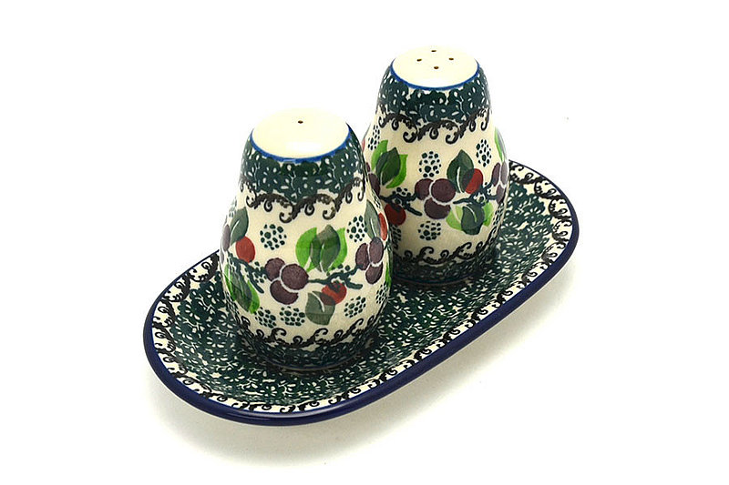 Ceramika Artystyczna Polish Pottery Salt & Pepper Set - Burgundy Berry Green 131-1415a (Ceramika Artystyczna)