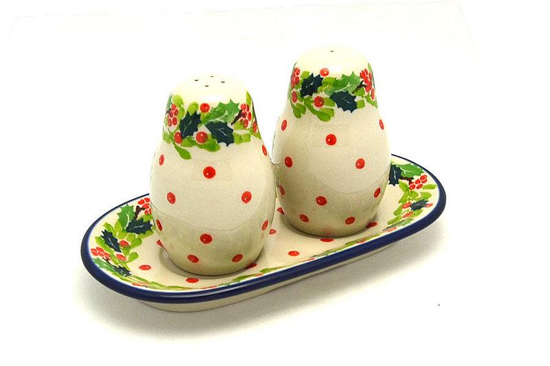 Ceramika Artystyczna Polish Pottery Salt & Pepper Set - Christmas Holly 131-2541a (Ceramika Artystyczna)