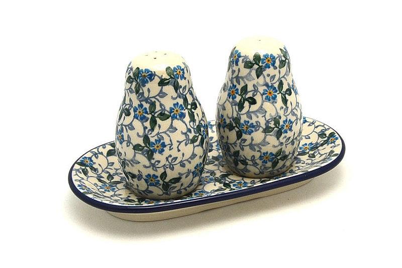 Ceramika Artystyczna Polish Pottery Salt & Pepper Set - Forget-Me-Knot 131-2089a (Ceramika Artystyczna)