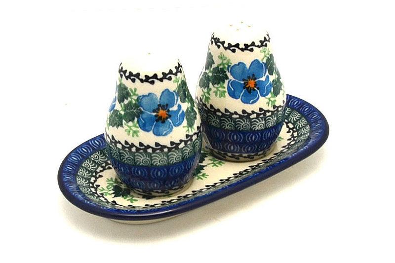 Ceramika Artystyczna Polish Pottery Salt & Pepper Set - Morning Glory 131-1915a (Ceramika Artystyczna)