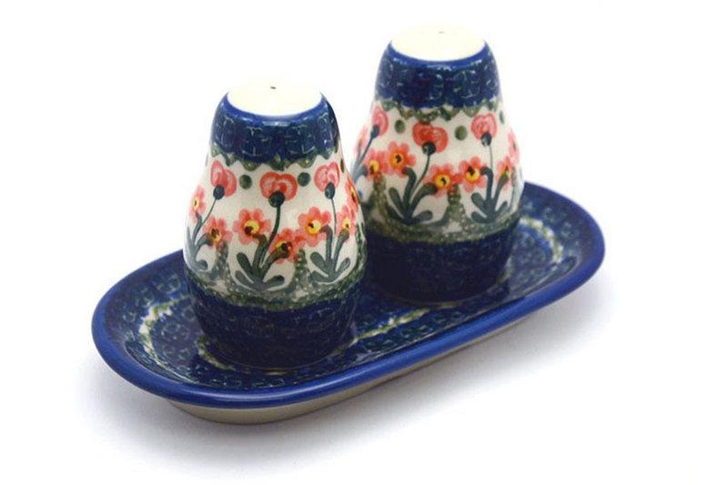 Polish Pottery Salt & Pepper Set - Peach Spring Daisy