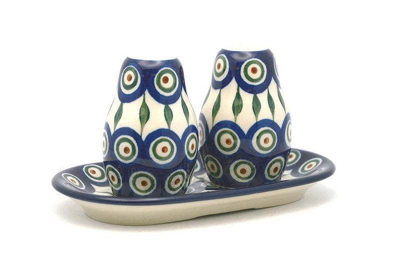 Ceramika Artystyczna Polish Pottery Salt & Pepper Set - Peacock 131-054a (Ceramika Artystyczna)