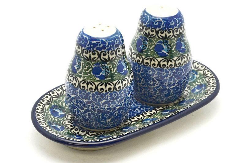 Ceramika Artystyczna Polish Pottery Salt & Pepper Set - Peacock Feather 131-1513a (Ceramika Artystyczna)