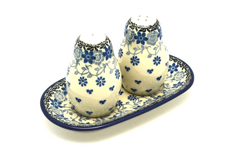 Ceramika Artystyczna Polish Pottery Salt & Pepper Set - Silver Lace 131-2158a (Ceramika Artystyczna)