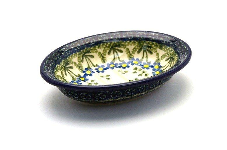 Ceramika Artystyczna Polish Pottery Soap Dish - Blue Spring Daisy 510-614a (Ceramika Artystyczna)