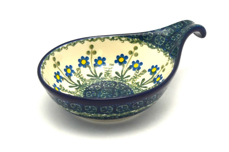 Polish Pottery Spoon/Ladle Rest - Blue Spring Daisy