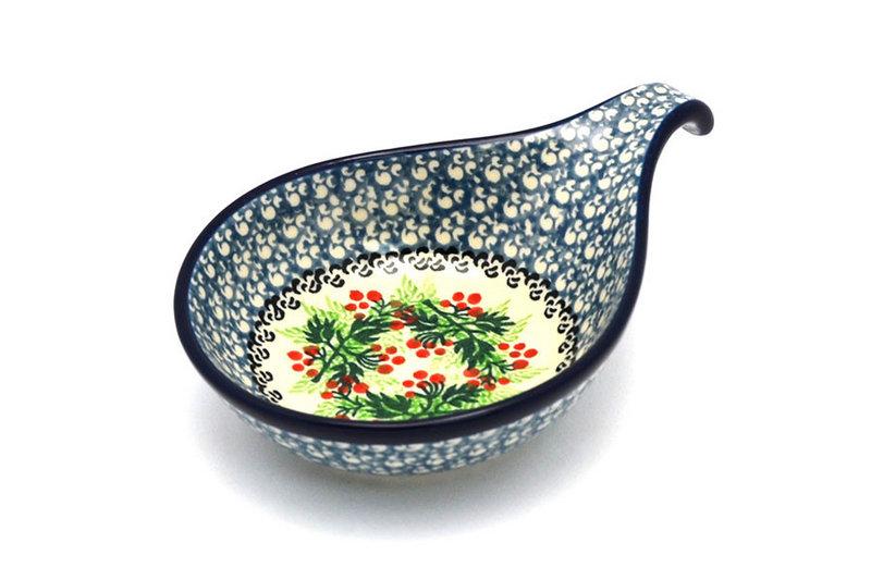 Ceramika Artystyczna Polish Pottery Spoon/Ladle Rest - Holly Berry 174-1734a (Ceramika Artystyczna)