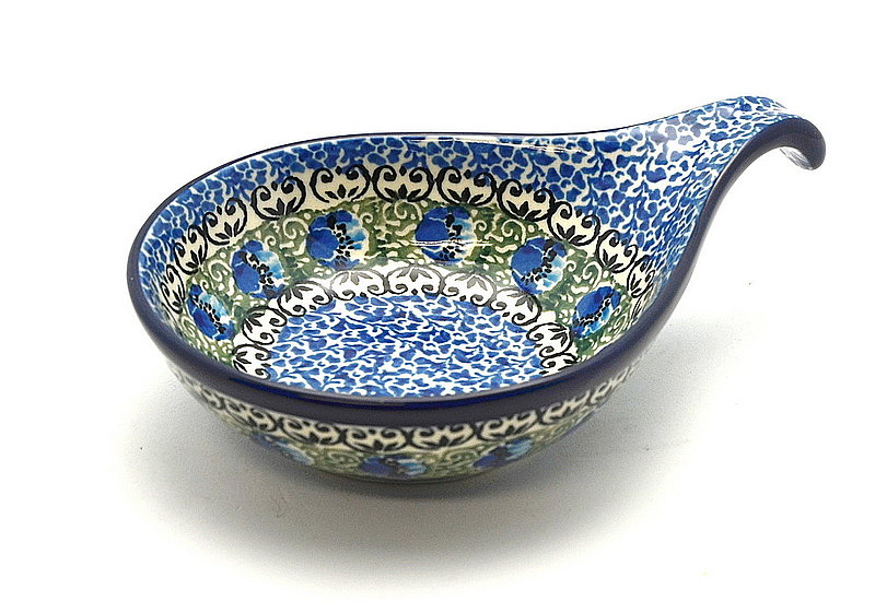 Polish Pottery Spoon/Ladle Rest - Peacock Feather