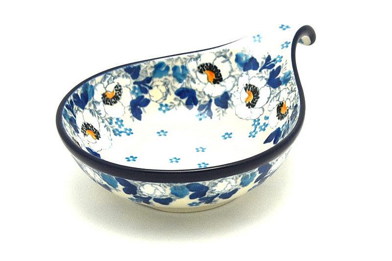 Ceramika Artystyczna Polish Pottery Spoon/Ladle Rest - White Poppy 174-2222a (Ceramika Artystyczna)