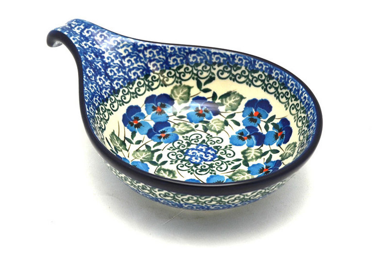 Polish Pottery Spoon/Ladle Rest - Winter Viola