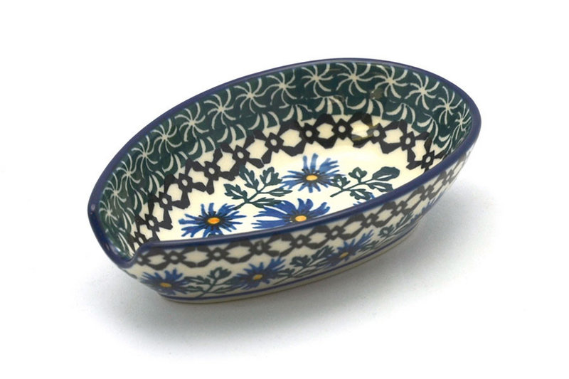 Polish Pottery Spoon Rest - Blue Chicory