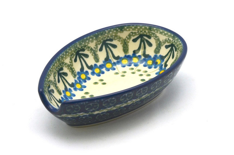 Ceramika Artystyczna Polish Pottery Spoon Rest - Blue Spring Daisy 381-614a (Ceramika Artystyczna)