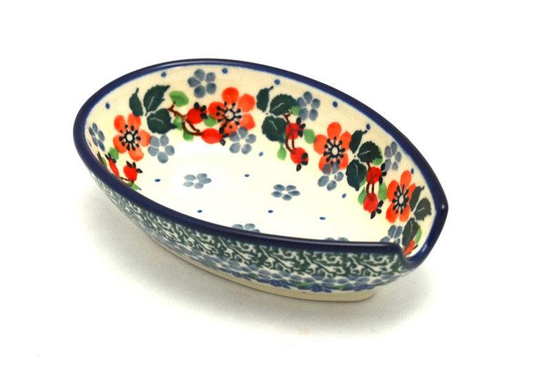 Ceramika Artystyczna Polish Pottery Spoon Rest - Cherry Blossom 381-2103a (Ceramika Artystyczna)