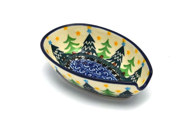 Ceramika Artystyczna Polish Pottery Spoon Rest - Christmas Trees 381-1284a (Ceramika Artystyczna)